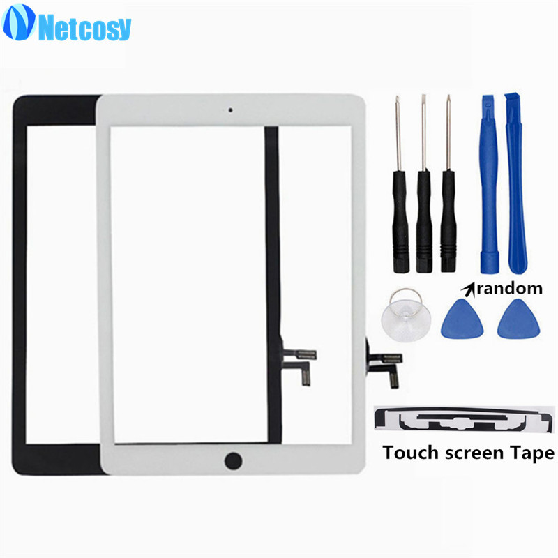 Netcosy For ipad 5 Touch Screen Digitizer Without Homebutton White/Black For ipad air A1822 A1823 & Adhesive Tape & Tools bqt replacement glsss screen for ipad mini1 mini2 touch screen digitizer without ic with tape parts 100