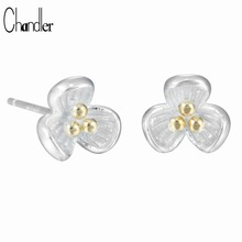 2017 New 925 Sterling Silver Flower Tiny Small Stud Earring For Women Love Original Design Brand Jewelry Valentine'S Day Gift