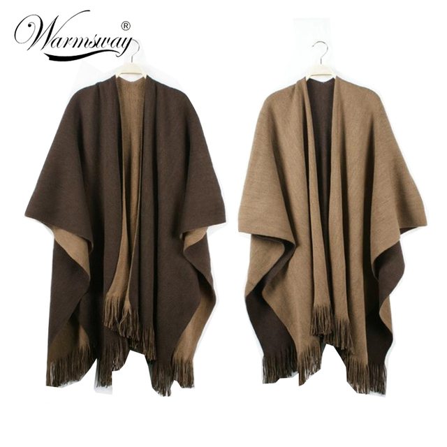 Quality guarantee Oversized Reversible reversed Women Winter Knitted Cashmere Poncho Capes Shawl Cardigans Sweater Coat WO-004