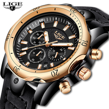 LIGE Mens Watches Top Brand Luxury Military Sport Watch Men Leather Waterproof Rose Gold Watch Quartz Watch Relogio Masculino relogio masculino lige men watches top brand luxury mens waterproof quartz watch men s fashion leather military sport watch saat