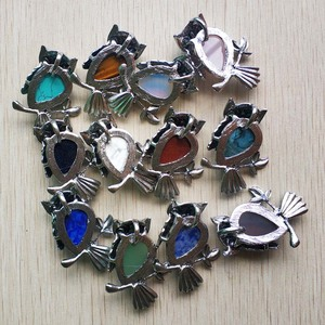 Image 2 - Fashion Vintage copper Plated Owl cute natural tiger eye stone onyx opal pendants for jewelry making wholesale 12pcs/lot free