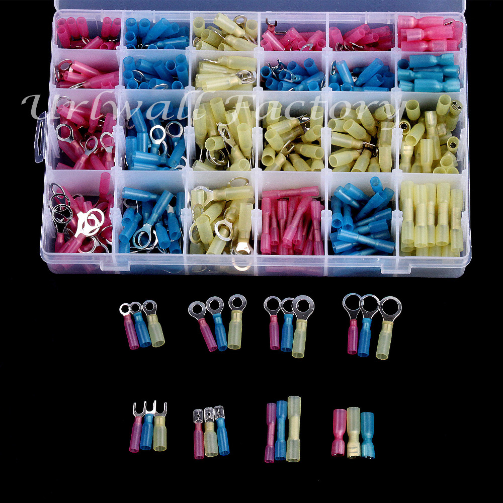 480PCS Red Yellow Blue Insulated Heat Shrink Crimp Terminals Electrical Butt Connectors assorted Ring Fork Splice Kit 480pcs insulated heat shrink electrical connectors assorted crimp terminals ring butt kit red yellow blue