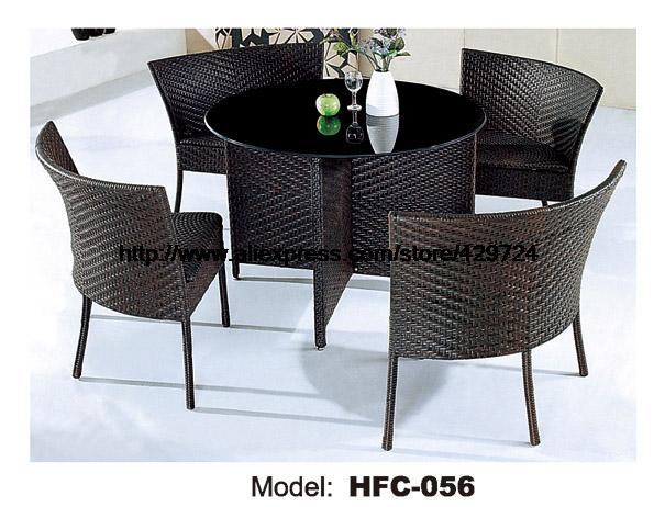 Low Price Rattan Furniture 1M Garden Rattan Table 4 Chairs Holiday Leisure Outdoor balcony Furniture Factory Garden Furniture
