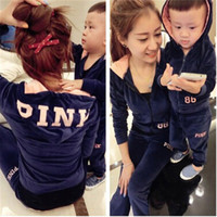 2016 Autumn Family Clothing Sets Monther Daughter Son Velvet Sports Wear Mum Son Outfits With Hood