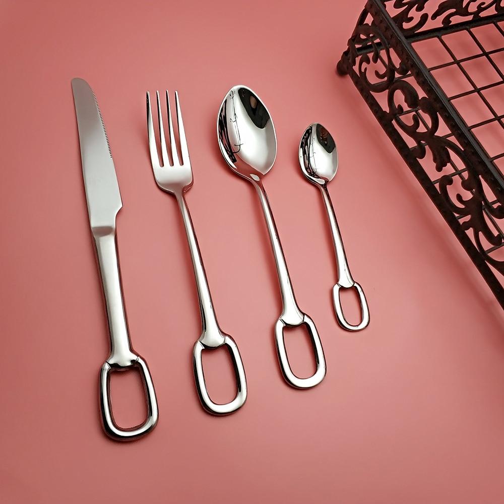 Hot Sale 4 pcs Silver Hole Dinnerware 304 Stainless Steel Knife Fork Spoon Cutlery Kitchen Food Tableware Flatware Dining Set