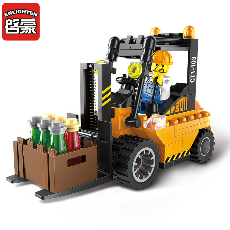 115Pcs Road Roller Forklift Truck Tractor Sweeper Truck Action Figure Building Blocks Playmobil Toys for Boys