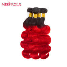 Miss Rola Hair Pre-colored Ombre Indian  Body Wave 4 Bundles T1B/Red Color 100% Human Hair Weaving  Extensions Non-remy Hair