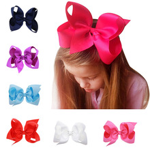 6inches 5pcs Big Ribbon Bow Headwear Child Girl's Fashion Accessories Multi-Color Optional Screw Thread Hair Clip Hairpins
