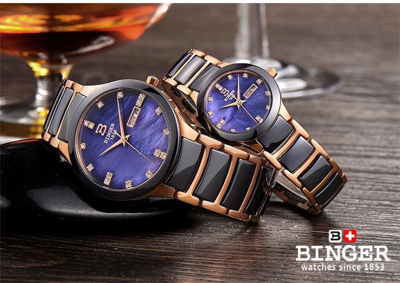 13e25e5de9df ... Suiza Binger relojes de pulsera de cerámica mujeres relojes de moda  reloj de cuarzo rhinestone 100 ...