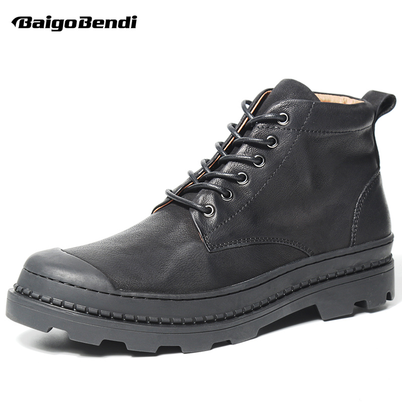Retro!! Mens Genuine Leather  Boots Lace Up Soliders Winter Ridding Boots Business Man Thick Heel Heighten shoes