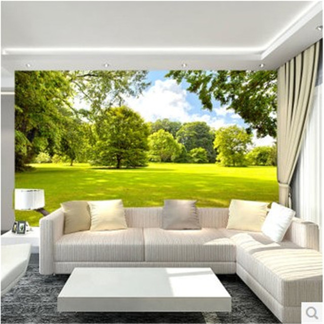 Moderno papel tapiz para sala de estar verde hierba jard n for Mural para pared dormitorio