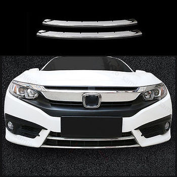 2PCS CHROME FIT FOR HONDA CIVIC 16-17 FRONT BUMPER LOWER GRILL GRILLE COVER TRIM