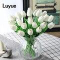 31 ピース/ロットチューリップ人工花の結婚式の装飾シミュレーション花嫁のブーケ pu オランダカイウリアルタッチフローレスパラための家の庭の装