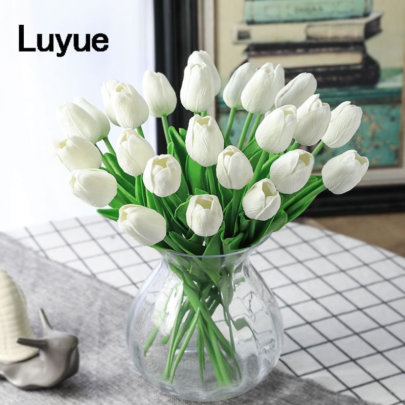 31pcs/lot Tulip Artificial Flowers Wedding Decor Simulation Bride Bouquet pu Calla Real Touch Flores Para for Home Garden decor