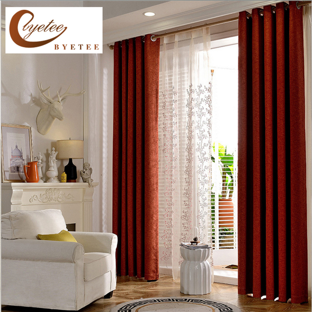 byetee] Bedroom Curtains For Living Room Curtains Solid Color Cotton ...