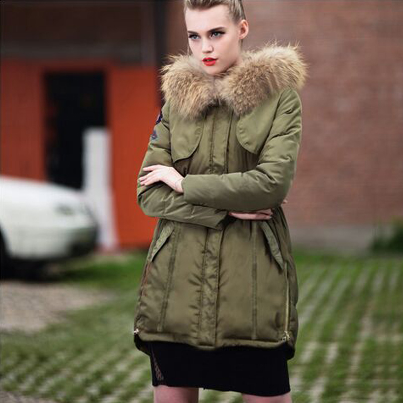 ФОТО Winter Jacket Women 2016 Real Large Raccoon Fur Parka Thickening Long Down jackets Warm For Winter Women Coat