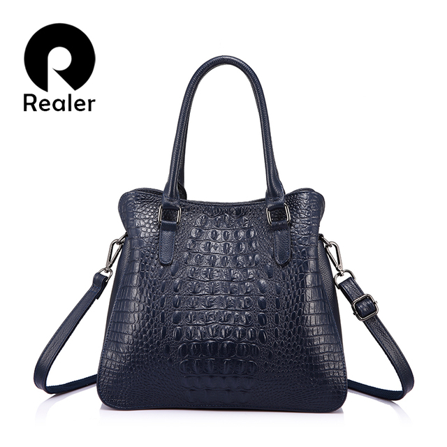 REALER luxury handbags women genuine leather crossbody messenger bags female tote high quality crocodile print ladies top-handle