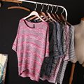 Mulheres manga comprida camisola de malha cardigans 2016 linho moda cockcon barras de cores blusas soltas outwear jaqueta casaco