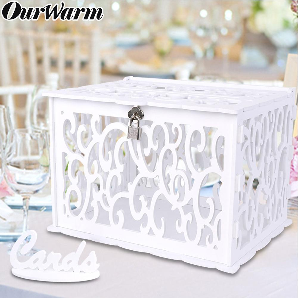 OurWarm DIY Wedding Gift Card Box PVC Money Box With Lock Beautiful Wedding Decoration Birthday Party Supplies
