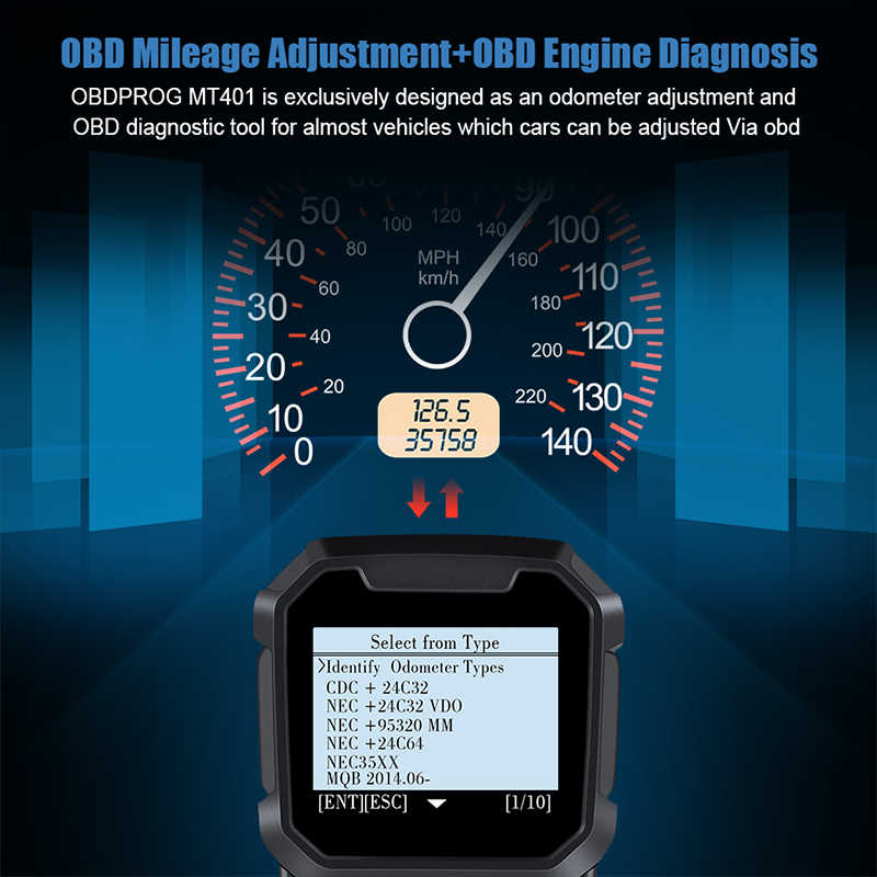 OBDPROG MT401 Mileage Adjustment Odometer Correction Tool and OBD Code  Reader Odometer Reset OBD2 Code Reader Diagnostic Tool