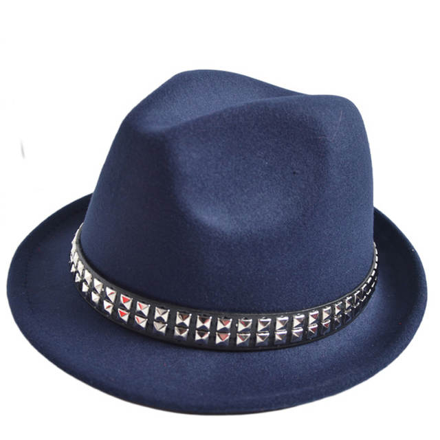 63643be6 Detail Feedback Questions about Men Women Fedora Hats Soft Felt Fahion Dance  Performance Hats and Caps with Rivet Stingy Brim Jazz Caps for Unisex GH 65  on ...