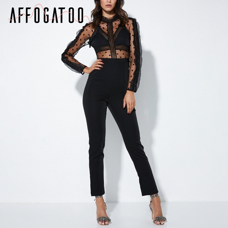 Affogatoo Backless zipper lace   jumpsuits   rompers women Transparent long sleeve sexy   jumpsuit   O neck elegant party playsuit 2018