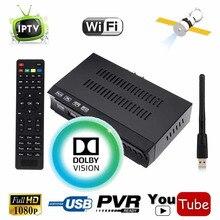 KOQIT 1G RAM 1080P DVB-S2 Digital Satellite FTA Receiver + m3u IPTV Combo TV Tuner Cccam Newcam Power vu Function + Wifi Antenna