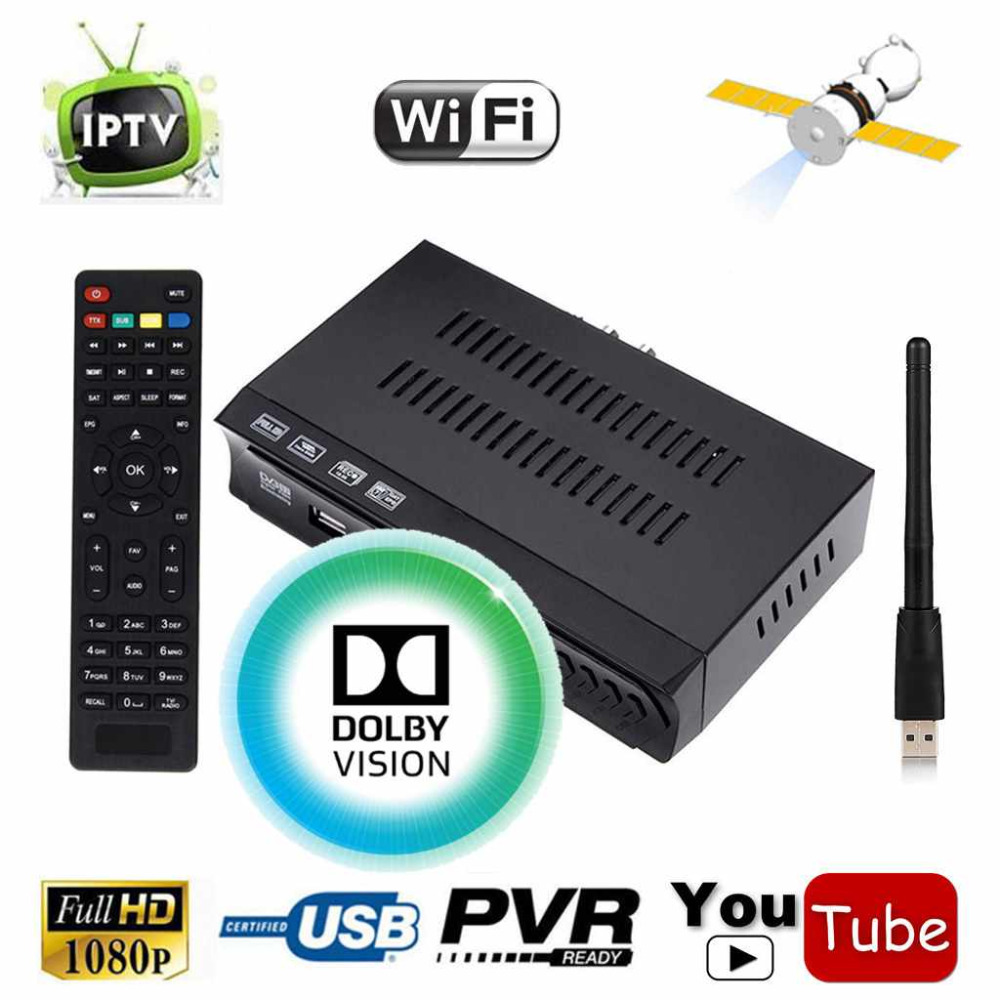 KOQIT 1G RAM 1080P DVB-S2 Digital Satellite FTA Receiver + m3u IPTV Combo TV Tuner Cccam Newcam Power vu Function + Wifi Antenna