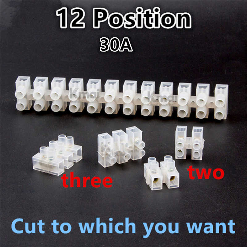 2PCS Electrical Wire Connection 12Position Barrier Terminal Strip Block DO