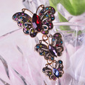 Red Butterfly Brooches Vintage Corsages Antique Silver Plated Black Amethyst Brooch Scarf Pin Dress Clip Broches Fine Jewelry