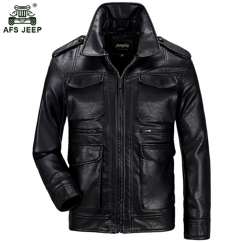 2017 Afs jeep New Spring Autumn Men Soft PU Leather Jacket Men Business Casual Coats Male hot sale size 3XL 150zr m 3xl hot 2018 spring men s new fashion conventional models slim collar pu leather jacket