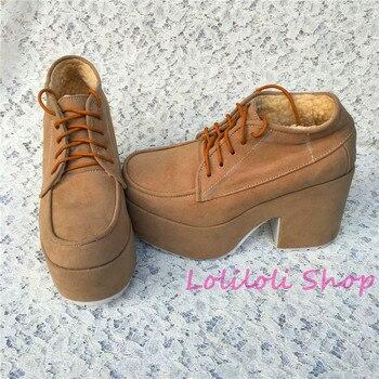 Princess sweet lolita shoes Loliloliyoyo antaina Japanese design brown flock skin thick heel cross lacing shoes custom 5241s