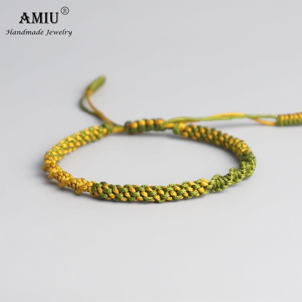 AMIU Tibetan Buddhist Lucky Charm Tibetan Bracelets & Bangles For Women Men Handmade Knots Deongare Rope Wish Gift Bracelet