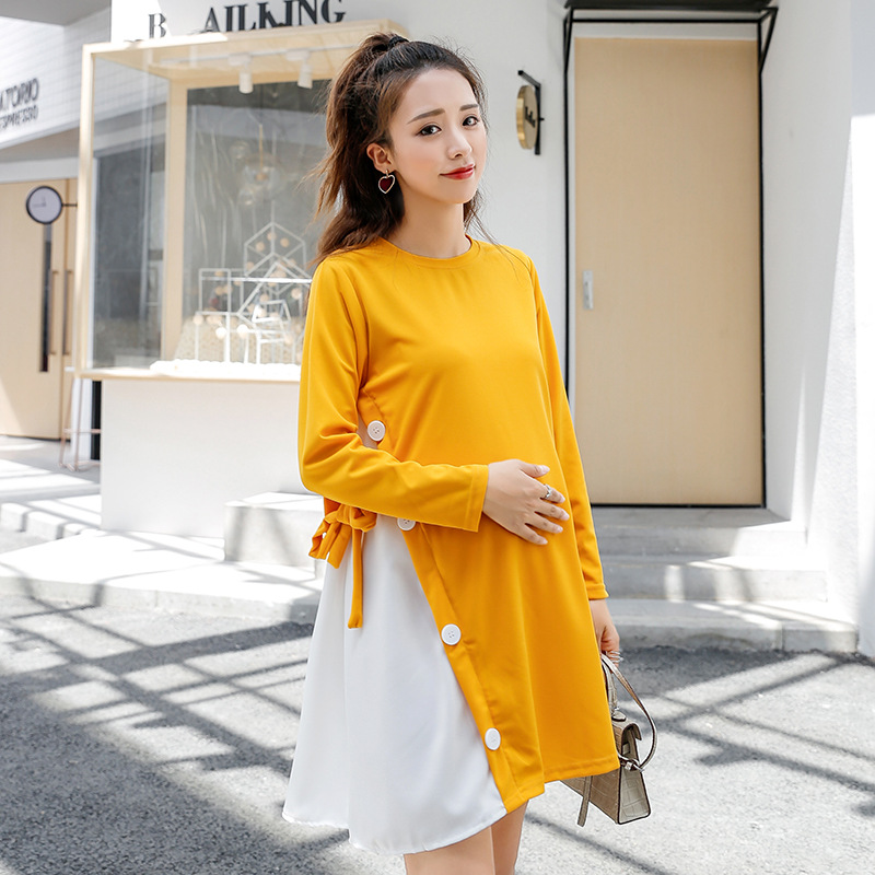 Autumn Fashion OL Patchwork Women Pregnant Dress Loose Lady Maternity Dresses for Photo Shoot Pink Yellow Black M-2XL Plus Size photo shoot