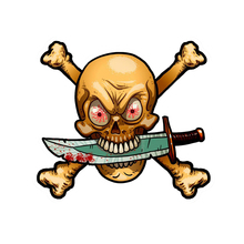Pirate Skull With Crossbone And Dagger Funnel Vinyl Car Sticker Laptop Accessories Decorative Decal