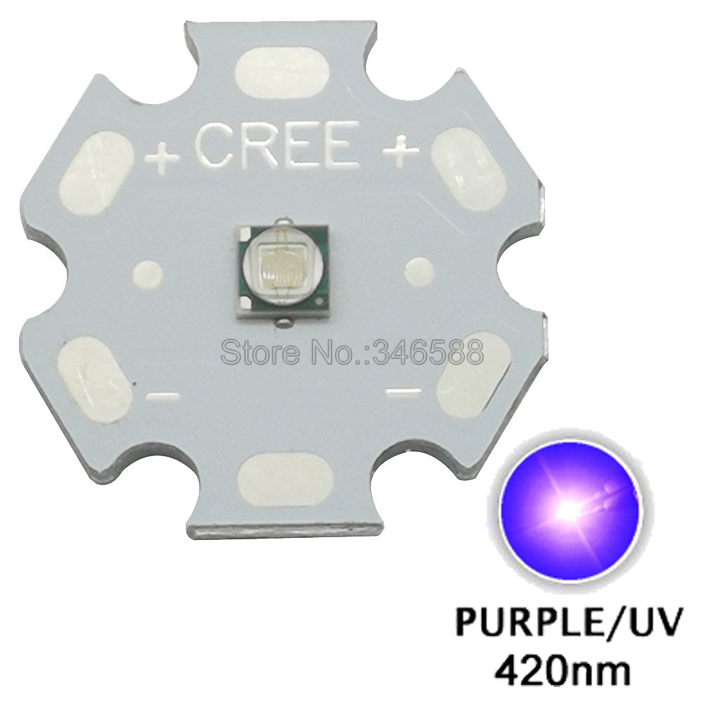 5pcs 3W <font><b>420nm</b></font> to 430nm UV Ultraviolet Purple Color 3535 Epileds High Power <font><b>LED</b></font> Light Emitter Diode on 8/12/14/16/20mm Star PCB image
