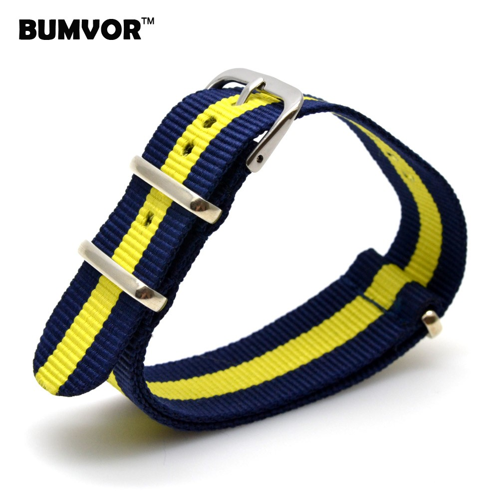 все цены на Stripes Popular Watch 16 mm Army Navy Yellow Military nato fabric Woven Nylon watchband Strap Band Buckle belt 16mm accessories онлайн