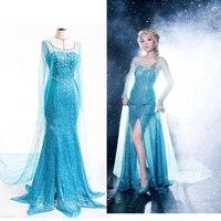 2 estilos Adulto Princesa Elsa traje Cosplay elsa vestidos de trajes de Halloween para as mulheres Vestidos longos de festa azul
