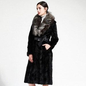 Женская Шуба с поясом, теплая длинная куртка с лисьим мехом на осень и зиму, A149, 2019