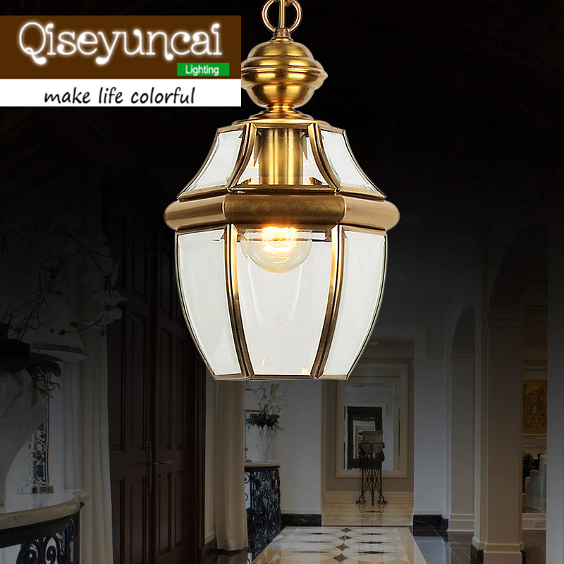 European style lamp copper lighting American small chandelier aisle lights lamp porch lamp Yang garden lighting lamp american pastoral style brazier porch lamp aisle lights balcony restaurant chandelier lamp