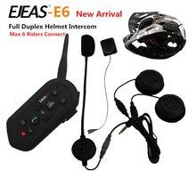 1PCS E6 Wireless Full Duplex Helmet Intercom BT Interphone 1200M Motorcycle Bluetooth Helmets Headset Walkie Talkie for 6 Riders