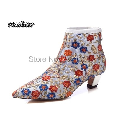 Maeliter spring summer women ankle boots embroider Air mesh flower back zipper fashion shoes pointed toe kitten heel Female boot 2018 spring autumn new genuine leather ankle boots nice spring hollow mesh boots women shoes female fashion zipper summer shoes