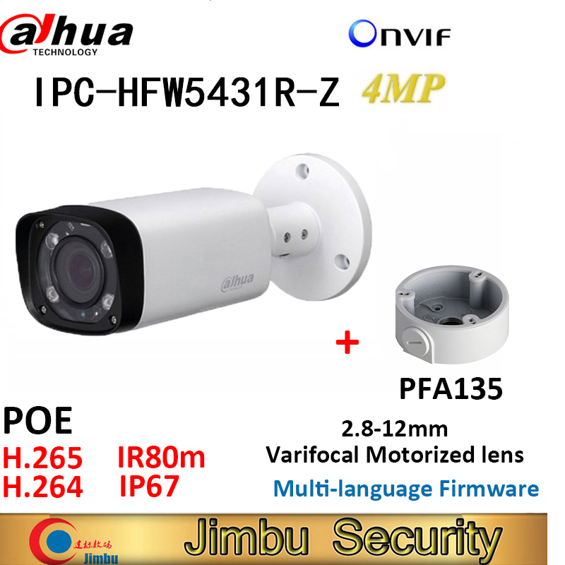 Dahua 4MP IP bullet Camera IPC HFW5431R Z and PFA135 bracket IR80m H 265 POE varifocus