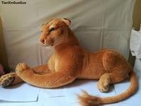 simulation lion plush toy large 80x35cm female lion soft throw pillow Christmas gift w0121