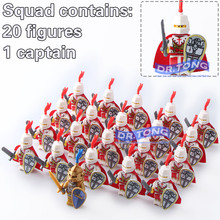 DR.TONG 21pcs/lot Medieval Knights Crusader Rome Commander with Weapon Cap Super Hero Building Blocks Toys Children Gifts 9818
