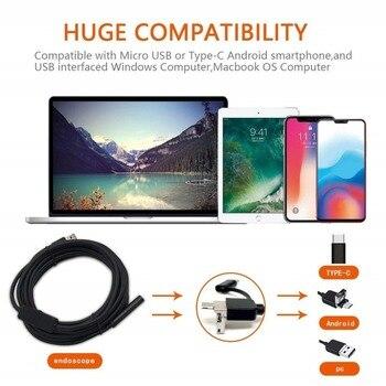 3 ב 1 USB אנדוסקופ קשה/רך כבל 720P Borescope פיקוח מצלמה עבור אנדרואיד סוג-c מחשב עמיד למים נחש מצלמה 2/3. 5/5/10M