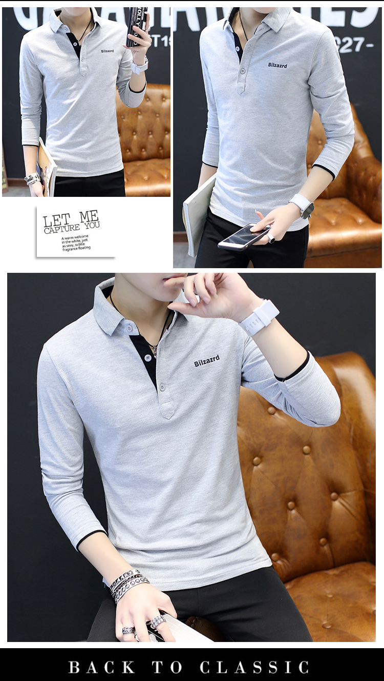 2019 men splicing t-shirts with short sleeves Comfortable in summer youth leisure lapel t-shirts 43