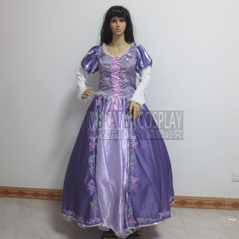 Free shipping Tangled Rapunzel princess Cosplay Costume deluxe edition