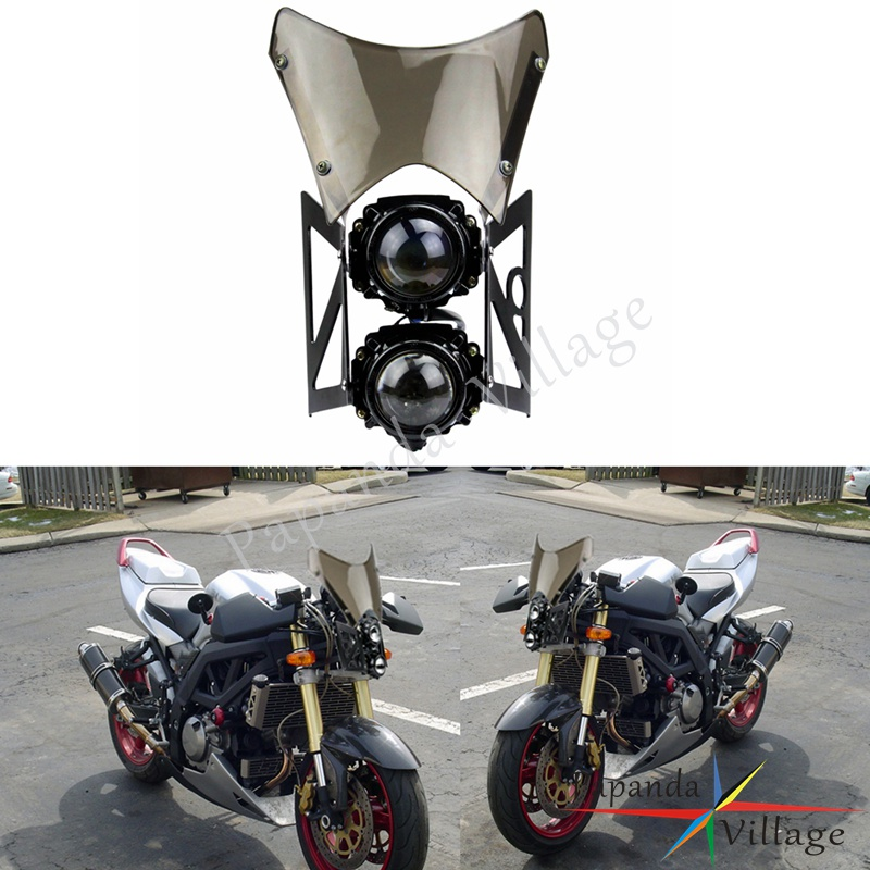 Papanda Motorcycle Windshield Twin Headlight with Black Bracket Streetfighter Project Light Dual Sport Headlamp