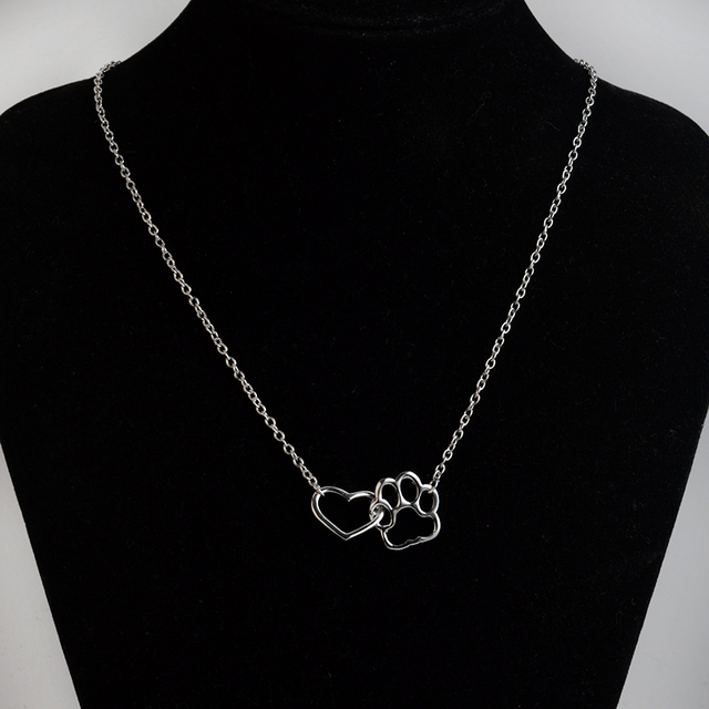 Hollow heart Dog Paw Print Necklace